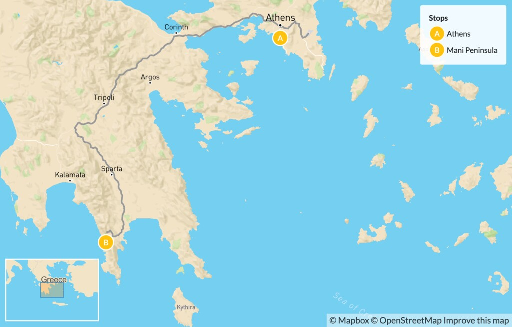 Map of Greek Culture & Adventure for Families: Athens & the Peloponnese - 7 Days