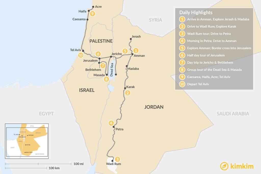 Map of Highlights of Jordan & Israel: Petra, Wadi Rum, Jerusalem, Dead Sea, & More - 10 days
