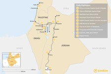 Map thumbnail of Highlights of Jordan & Israel: Petra, Wadi Rum, Jerusalem, Dead Sea, & More - 10 days