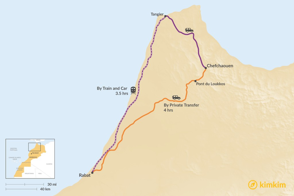 Map of How to Get from Rabat to Chefchaouen