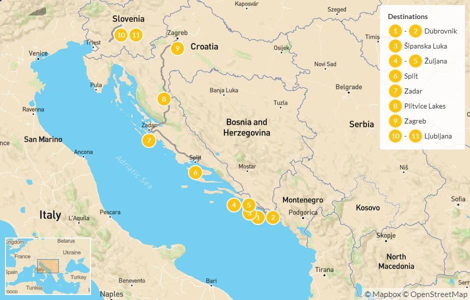 Map of Best of Croatia & Slovenia: Dubrovnik to Ljubljana - 12 Days