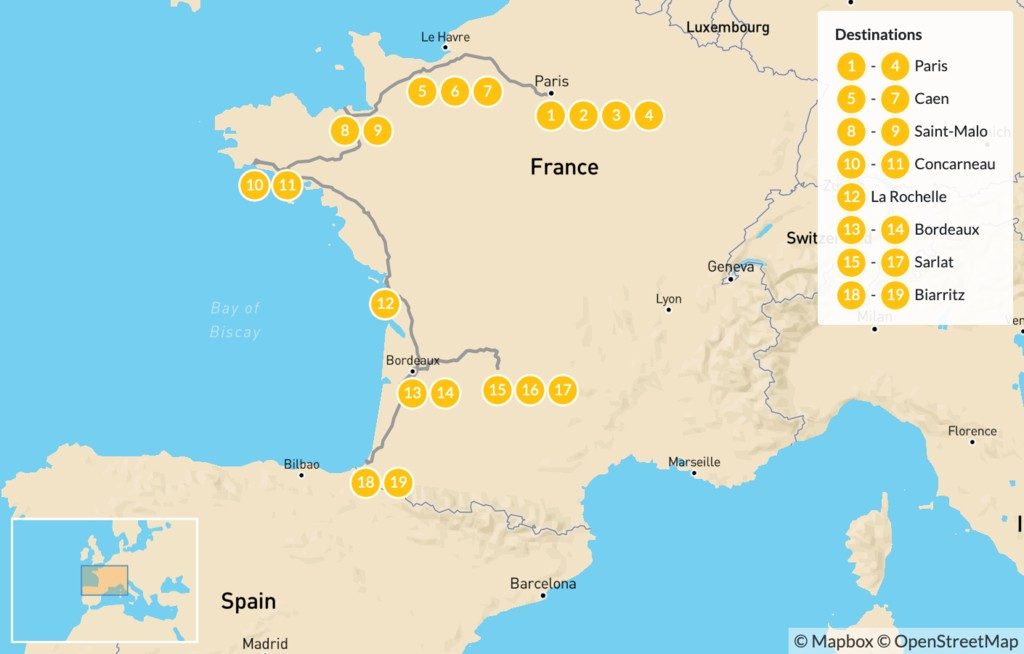 Map of Family Adventure in Western France: Paris, Caen, Saint-Malo, Bordeaux, Basque, & More - 20 Days