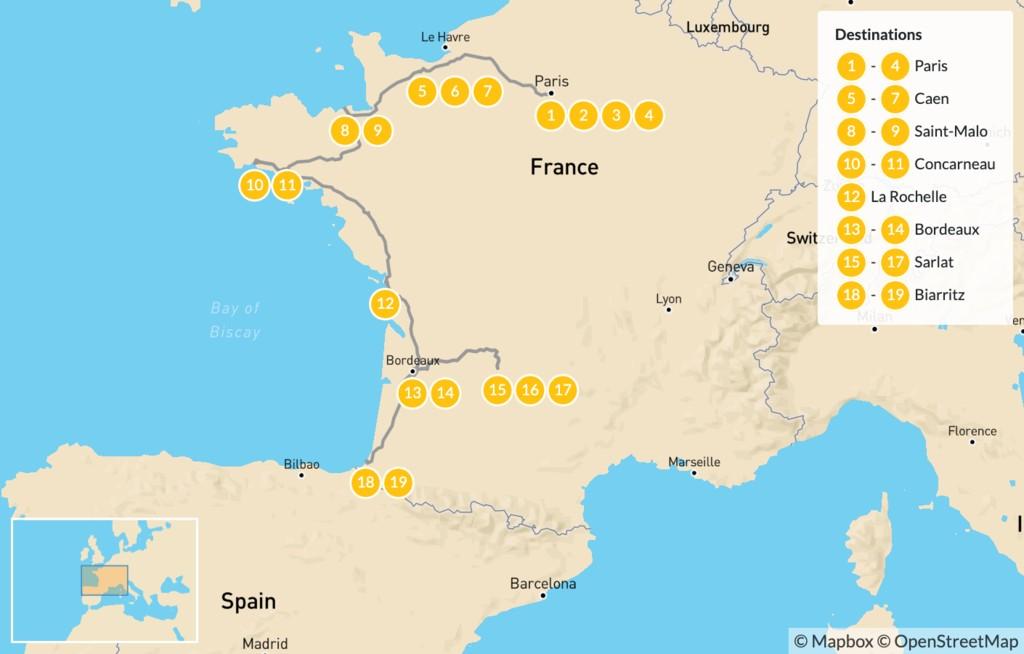Map of Family Adventure in Western France: Paris, Caen, Saint-Malo, Bordeaux, Basque, & More - 20 Days