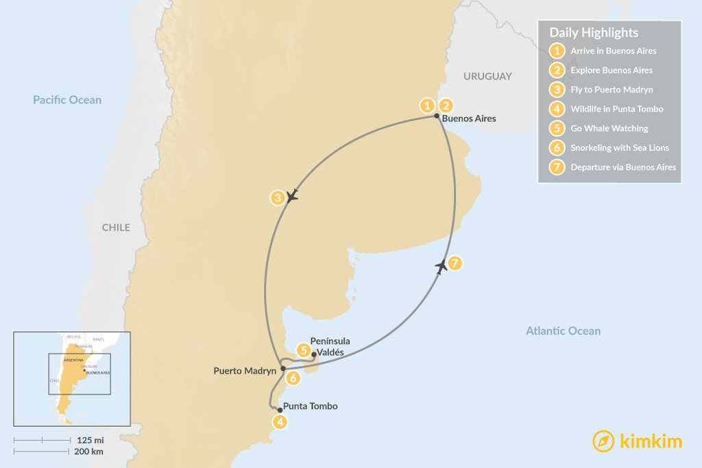 Map of Argentine Culture & Wildlife Adventure - 7 days