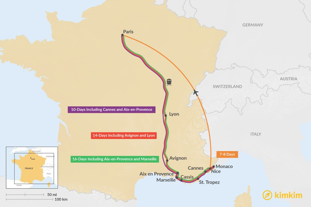 Map of Nice & Paris: Best Itinerary Ideas