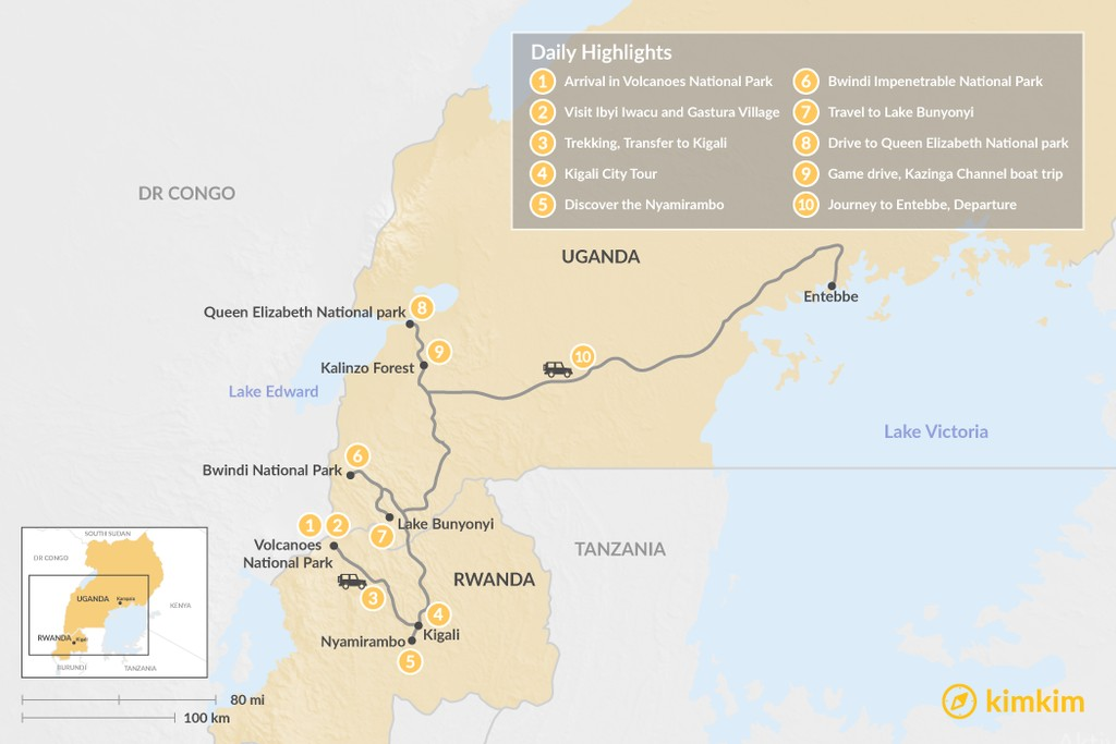 Map of Wildlife & Culture in Rwanda and Uganda - 10 Days