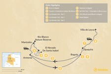 Map thumbnail of Colombian Highlands & the Los Nevados Trek - 9 Days