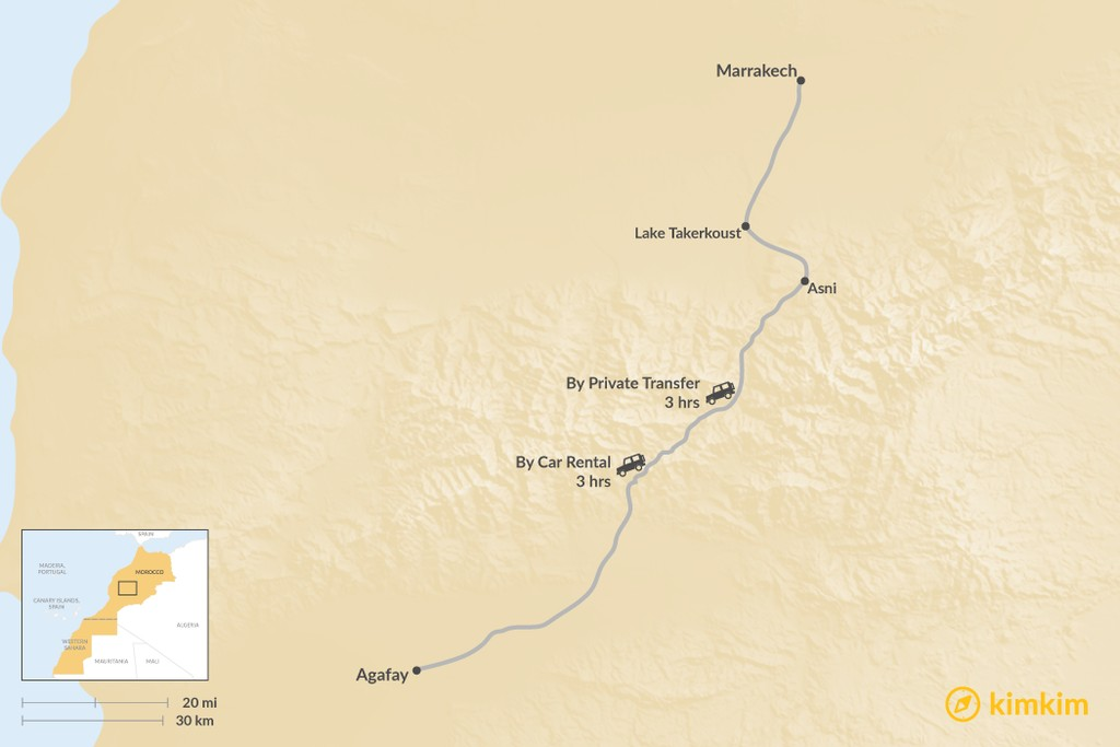 Map of How to Get from Marrakech to Agafay