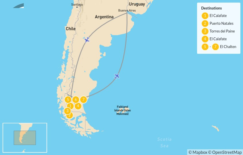 Map of Active Patagonia: Los Glaciares & Torres del Paine - 8 Days