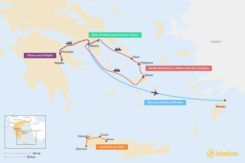 Map of 5 Days in Greece - 5 Unique Itinerary Ideas