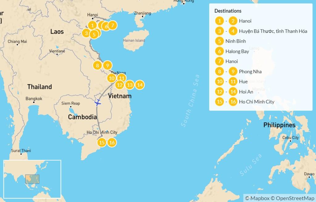Map of Vietnam Nature and Culture Tour: Hanoi, Hue, Ho Chi Minh City, & More - 17 Days