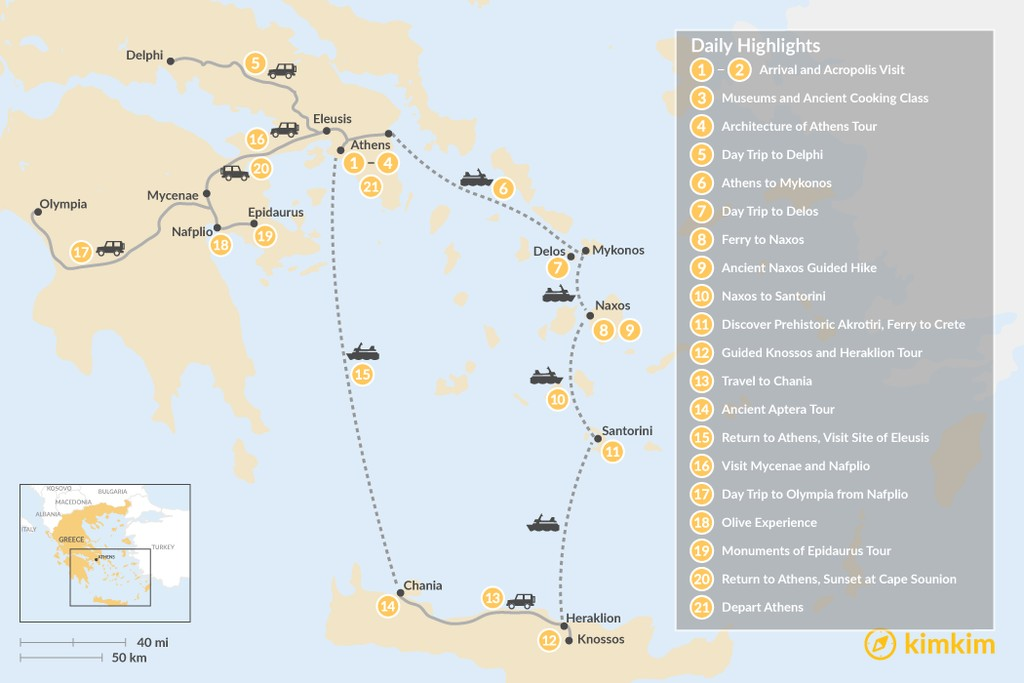 Map of Historic Athens, Mainland Greece, Cyclades, and Crete - 21 Days