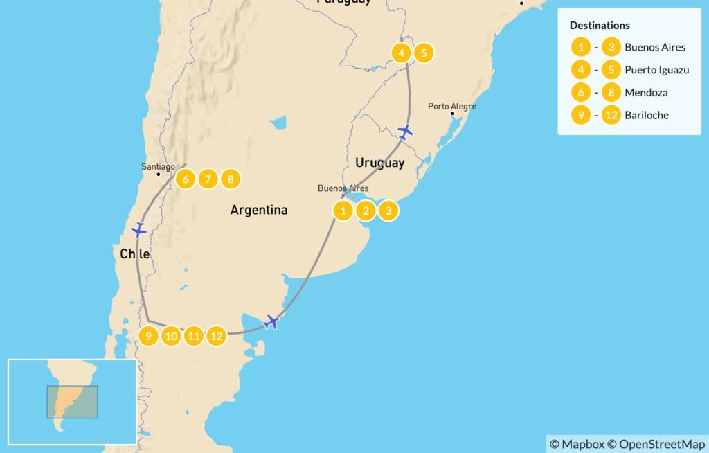 Map of Buenos Aires, Iguazú Falls, Mendoza, & Bariloche - 13 Days