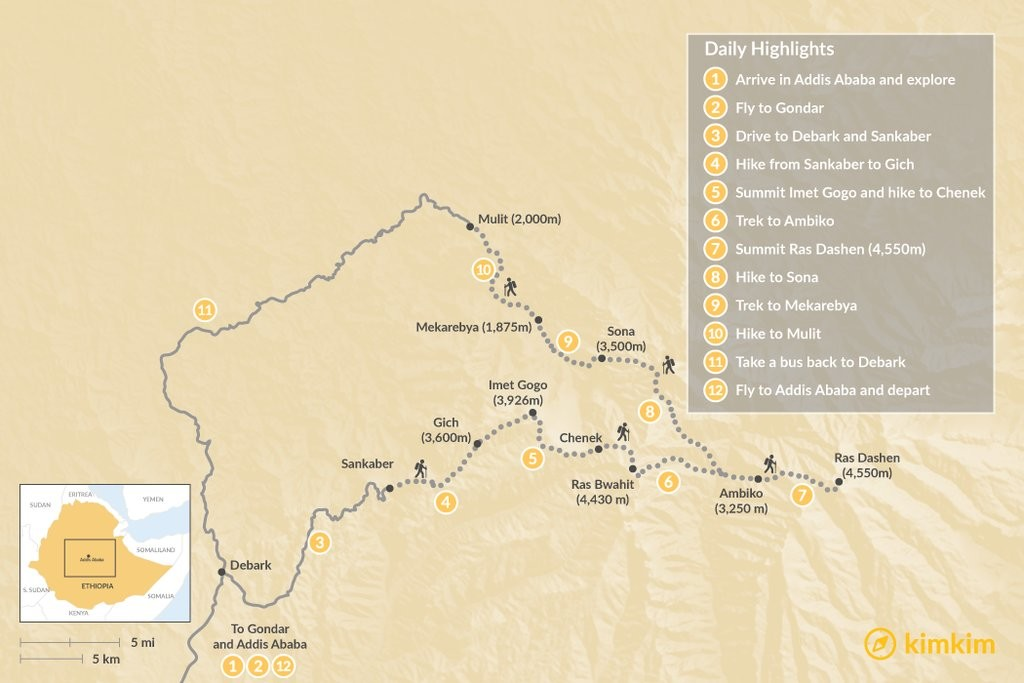Map of Climb Ras Dashen, Ethiopia's Highest Peak - 12 Days