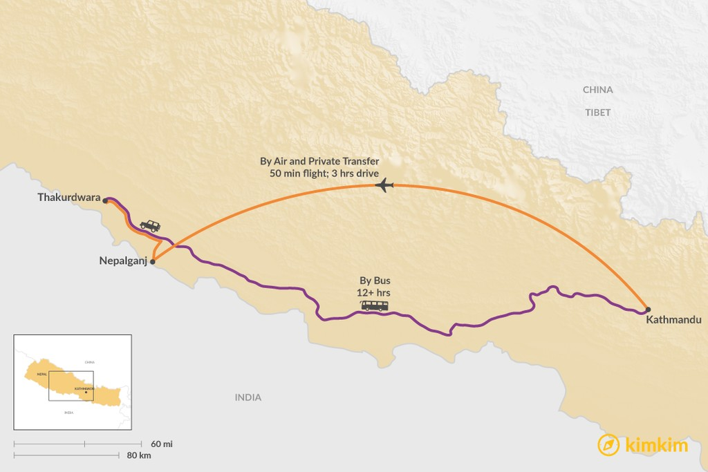 Map of How to Get from Kathmandu to Bardia National Park