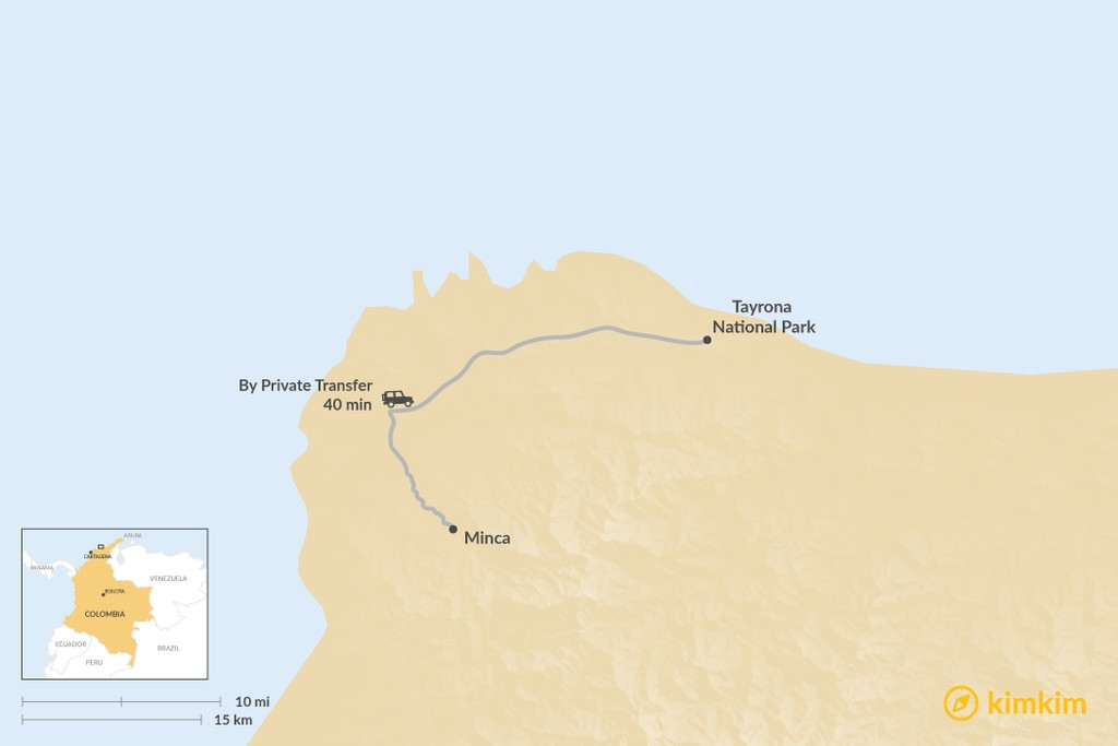 Map of How to Get from Minca to Tayrona National Park