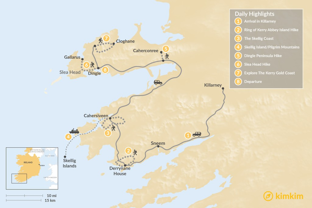 Map of Kingdom of Kerry Guided Hike - 8 Days