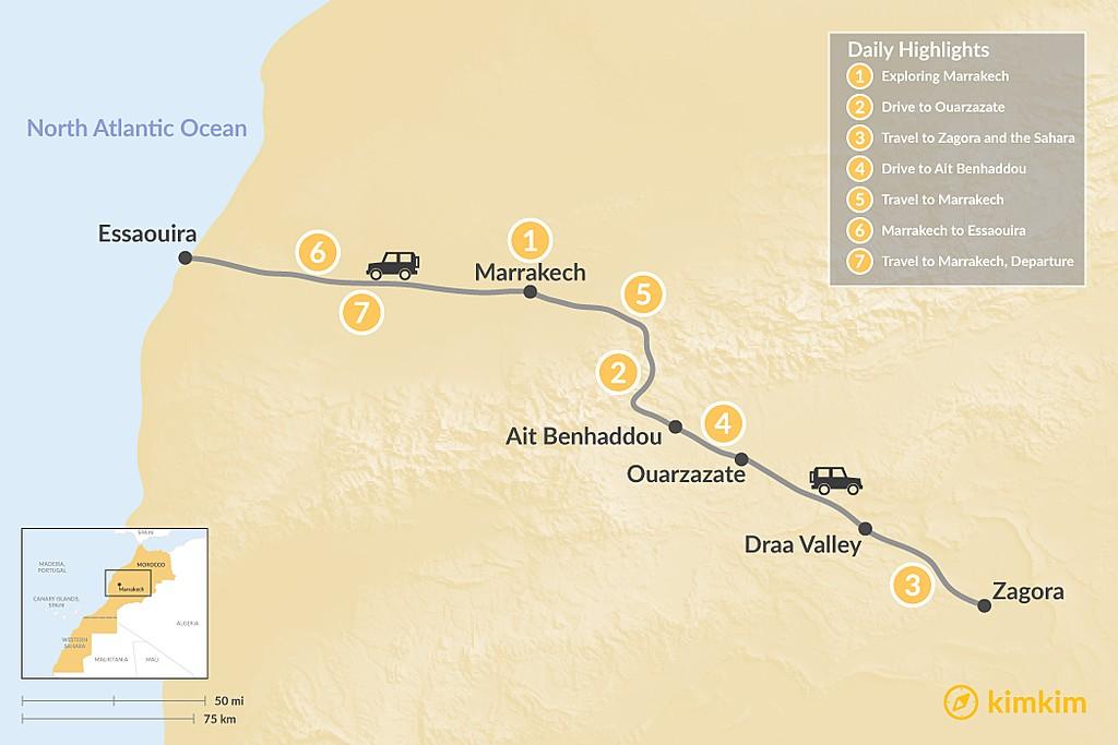 Map of Marrakech, Quick Desert Tour, Essaouira - 7 Days