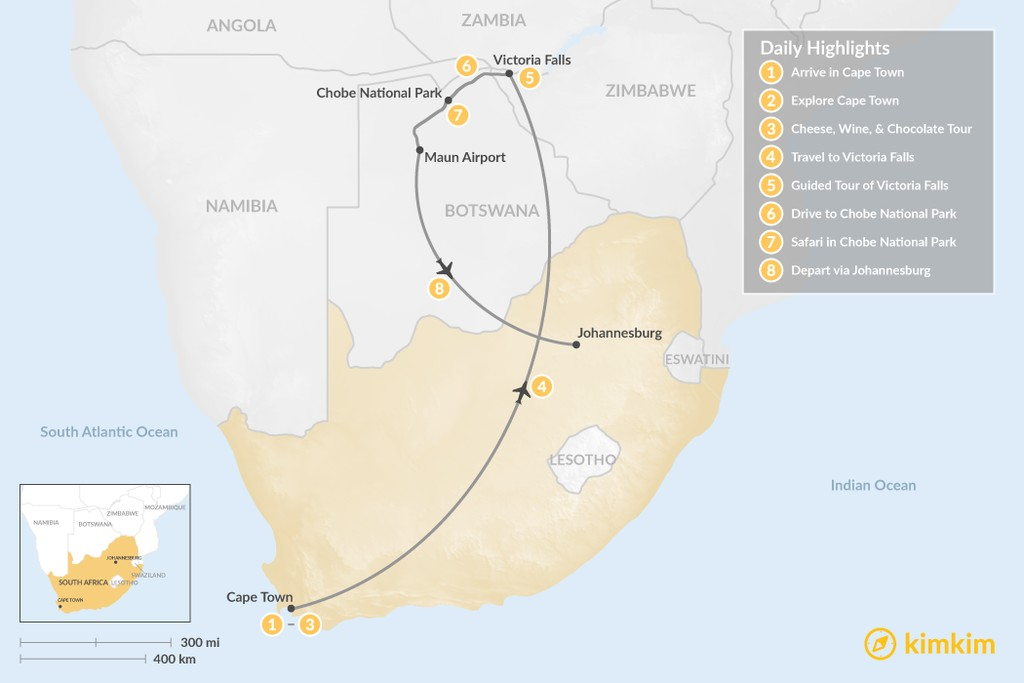 Map of Southern Africa Safari: Cape Town, Victoria Falls, & Chobe National Park - 8 Days