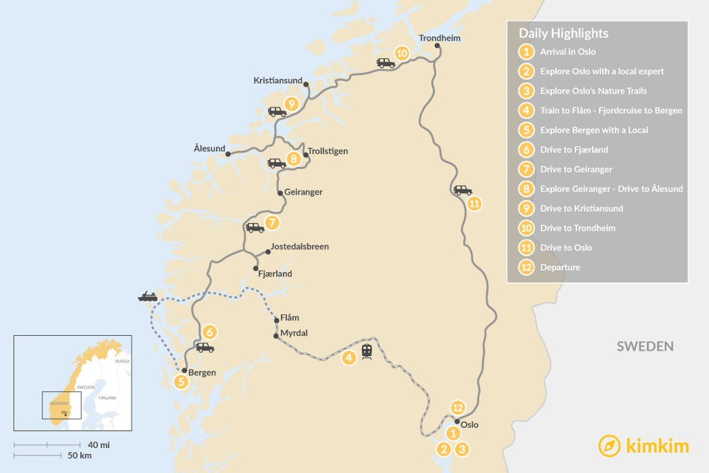 Map of Summer Road Trip: Oslo, Bergen & Trondheim - 12 Days
