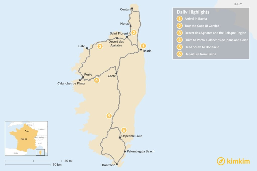 Map of Motorbike Tour of Corsica: 6 Day Itinerary