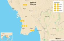 Map thumbnail of Explore Myanmar: Yangon, Bagan, Gwa, & Ngapali - 10 Days