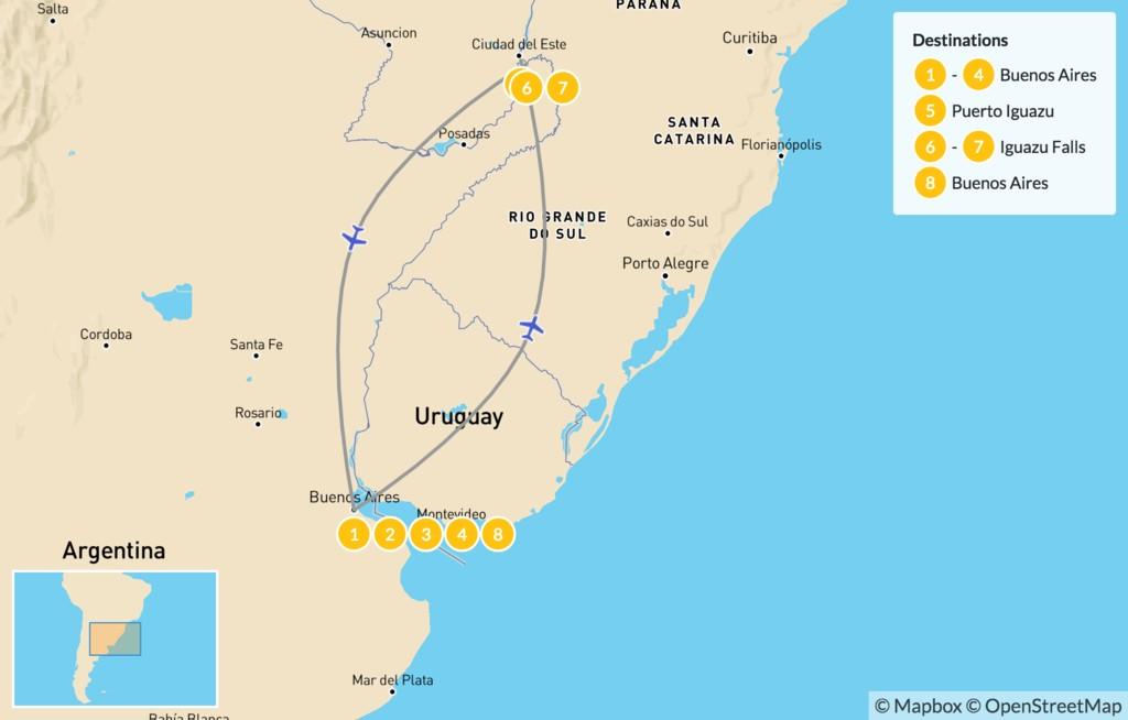 Map of Buenos Aires & Iguazú Falls - 9 Days