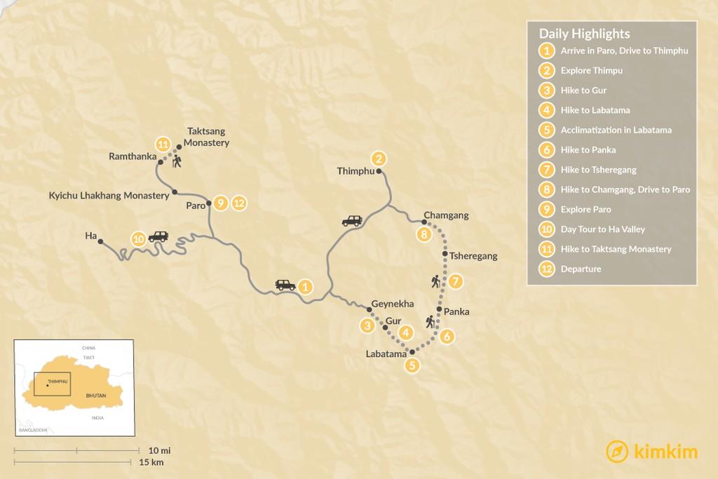 Map of Dagala Thousand Lakes Trek - 12 Days