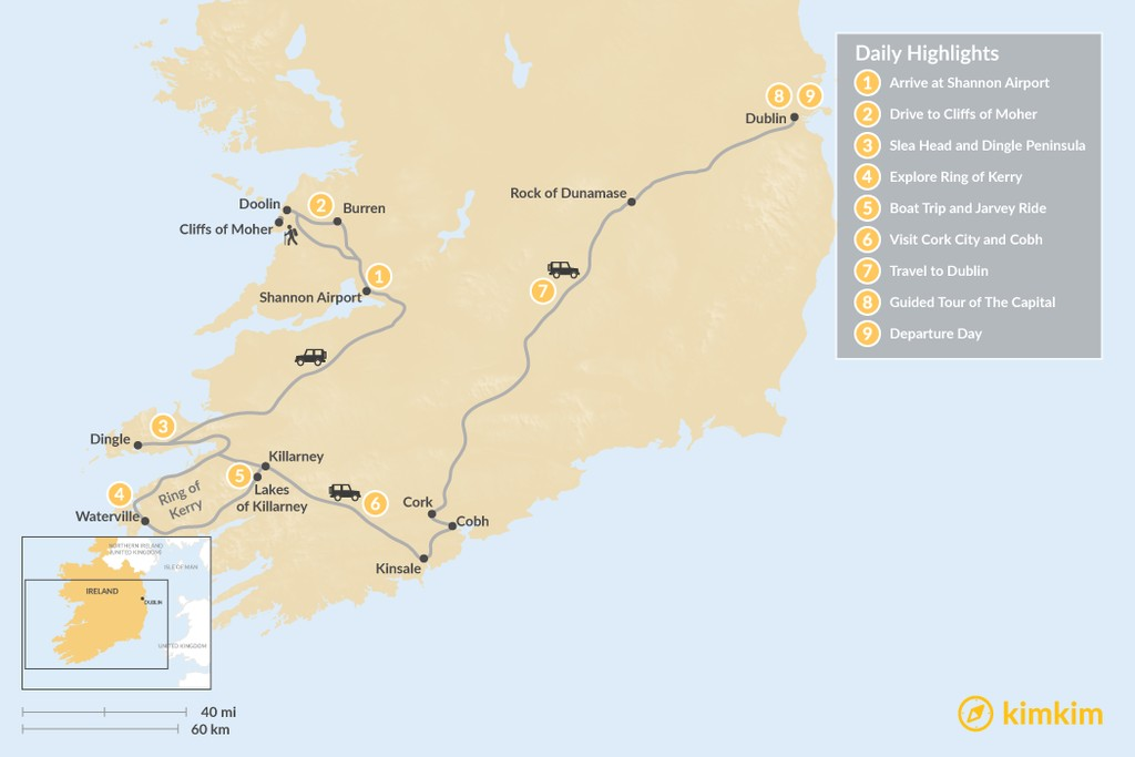 Map of Southwest Ireland Road Trip: Cliffs of Moher, Dingle, Ring of Kerry, Dublin - 9 Days