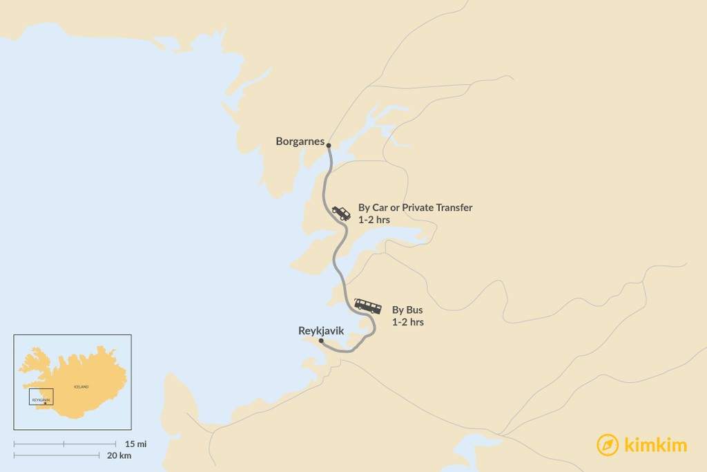 Map of How to Get from Reykjavik to Borgarnes