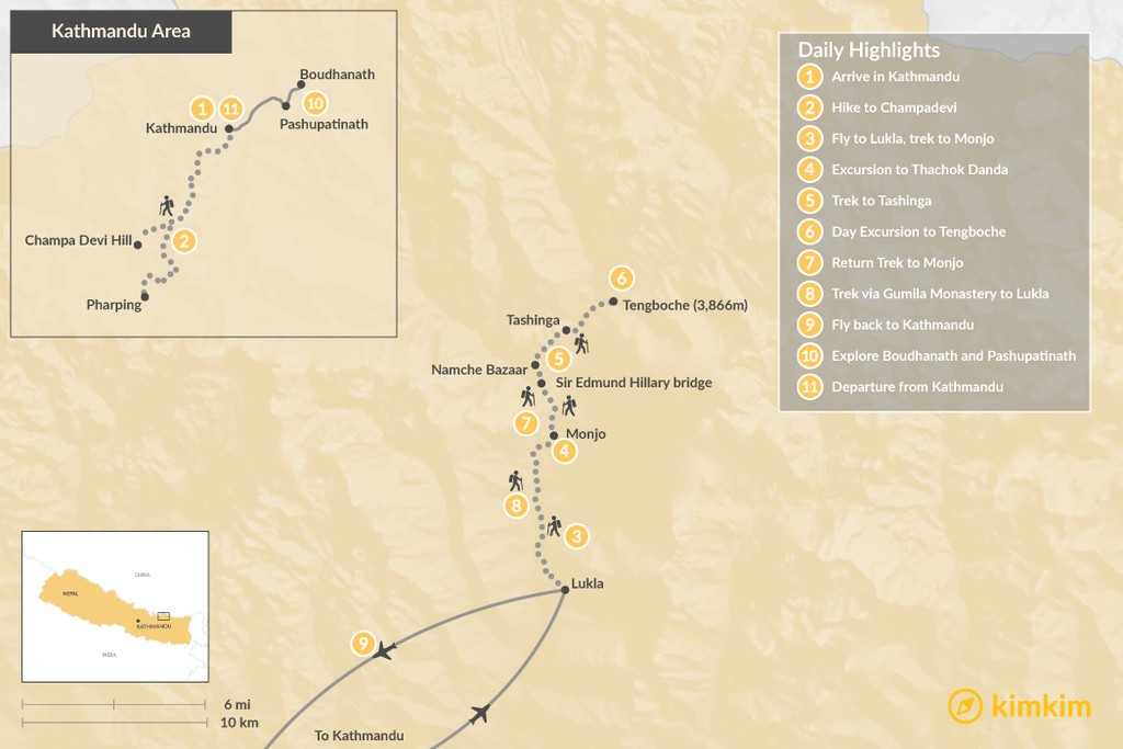 Map of Classic Everest Region Trek  - 11 Days