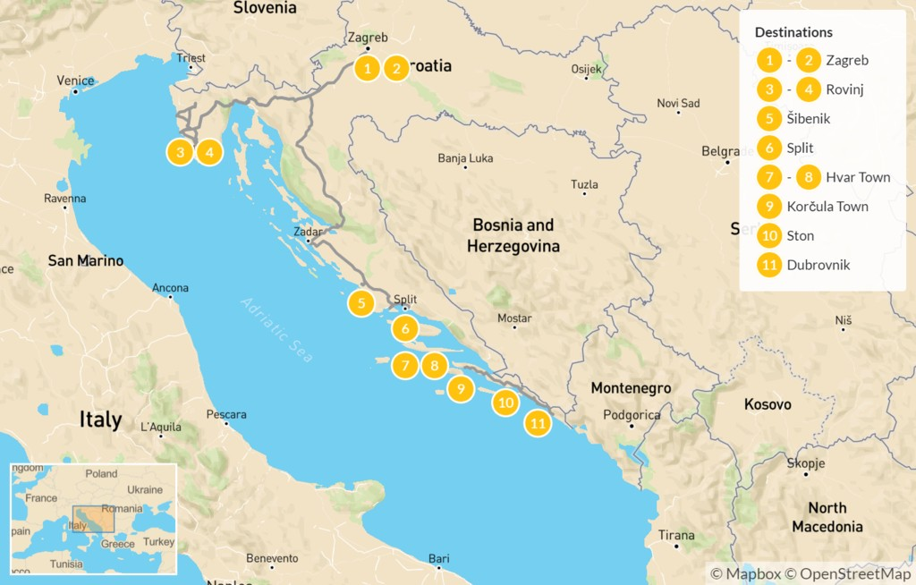 Map of Best of Croatia: Zagreb, Rovinj, Šibenik, Hvar, & Dubrovnik - 12 Days