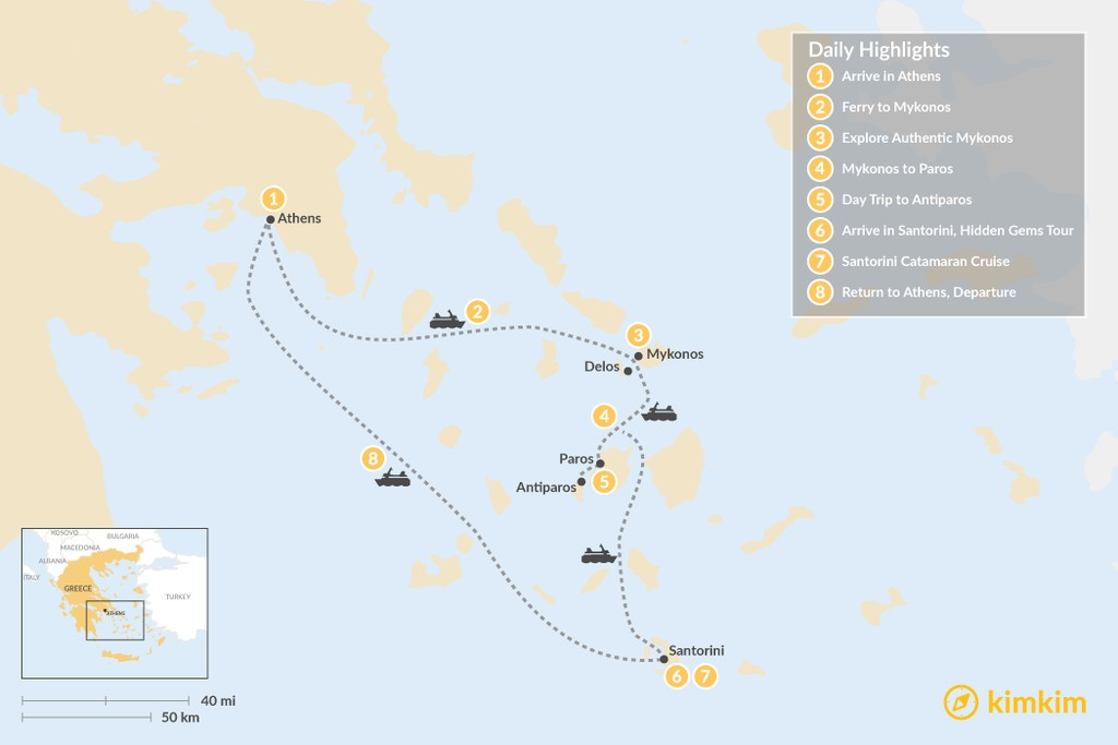 Map of Experience Mykonos, Paros, and Santorini - 8 Days