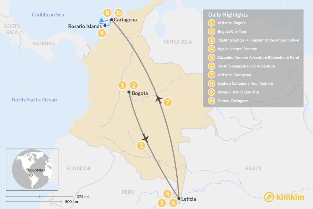 Map of Bogotá, Amazon & Cartagena - 10 Days