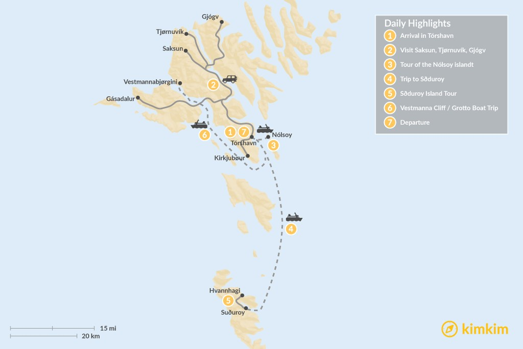 Map of Faroe Islands Highlights - 7 Days
