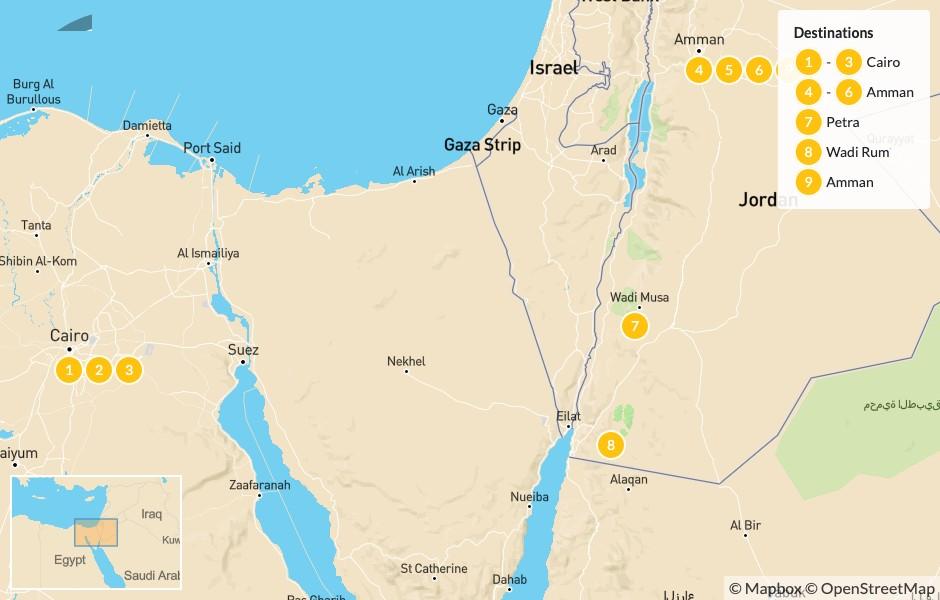 Map of Jordan & Egypt: Cairo, Amman, Petra, and Wadi Rum - 10 Days