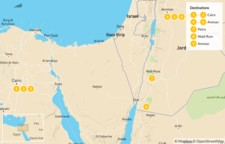 Map thumbnail of Jordan & Egypt: Cairo, Amman, Petra, and Wadi Rum - 10 Days