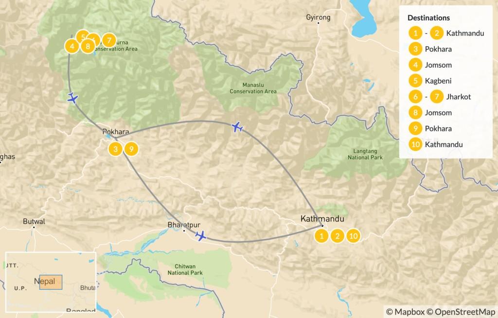 Map of Lower Mustang Trek - 11 Days