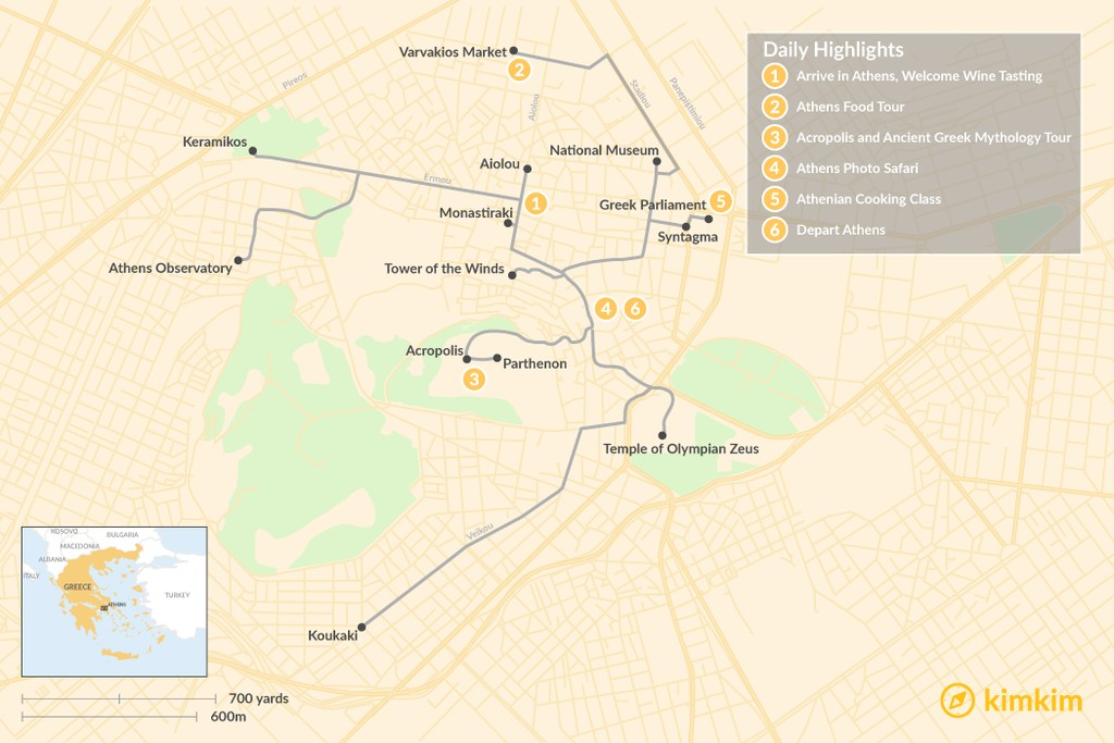Map of Athens City Break - 6 Days