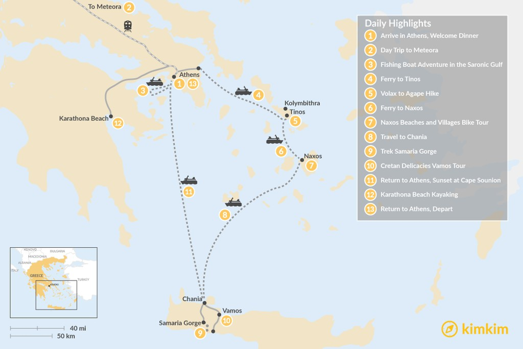 Map of Active Athens, Mainland Greece, Cyclades, and Crete - 13 Days