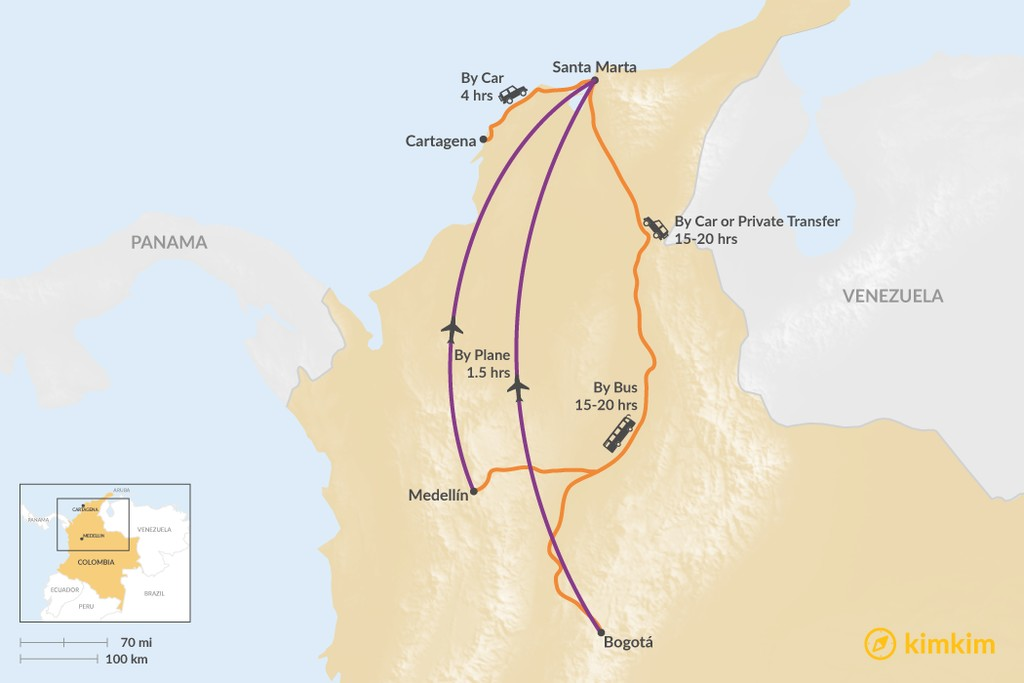 Map of How to Get to Colombia's Lost City Trek