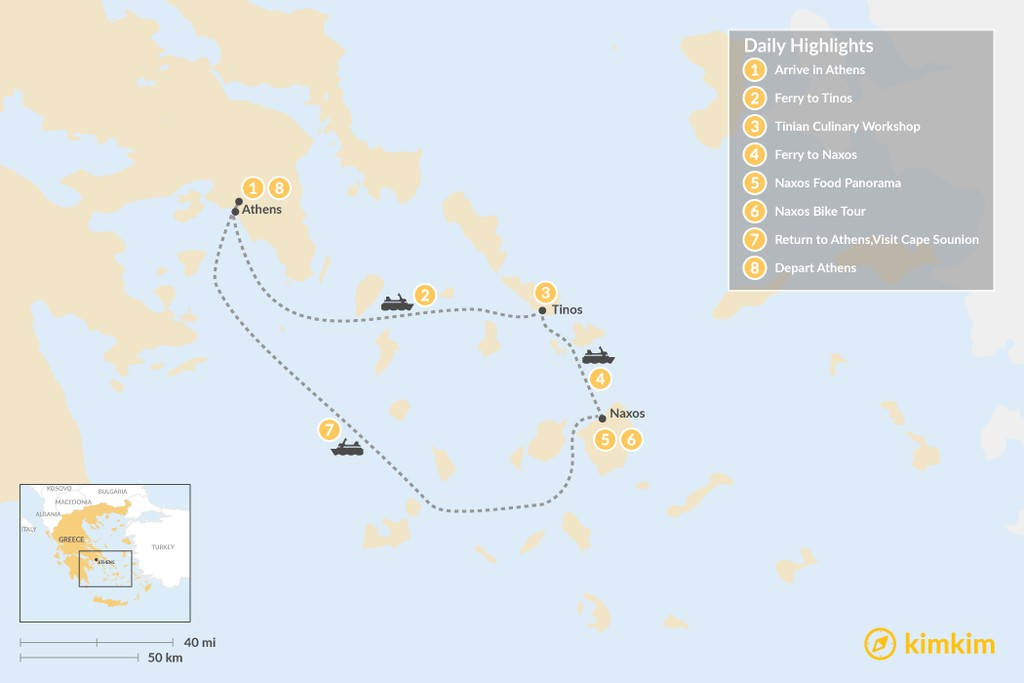 Map of Relaxing Secret Cyclades - 8 Days