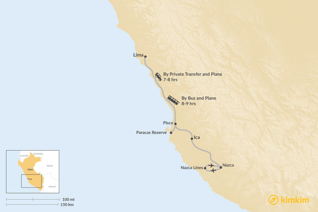 Map of How to Get from Lima to the Nazca Lines