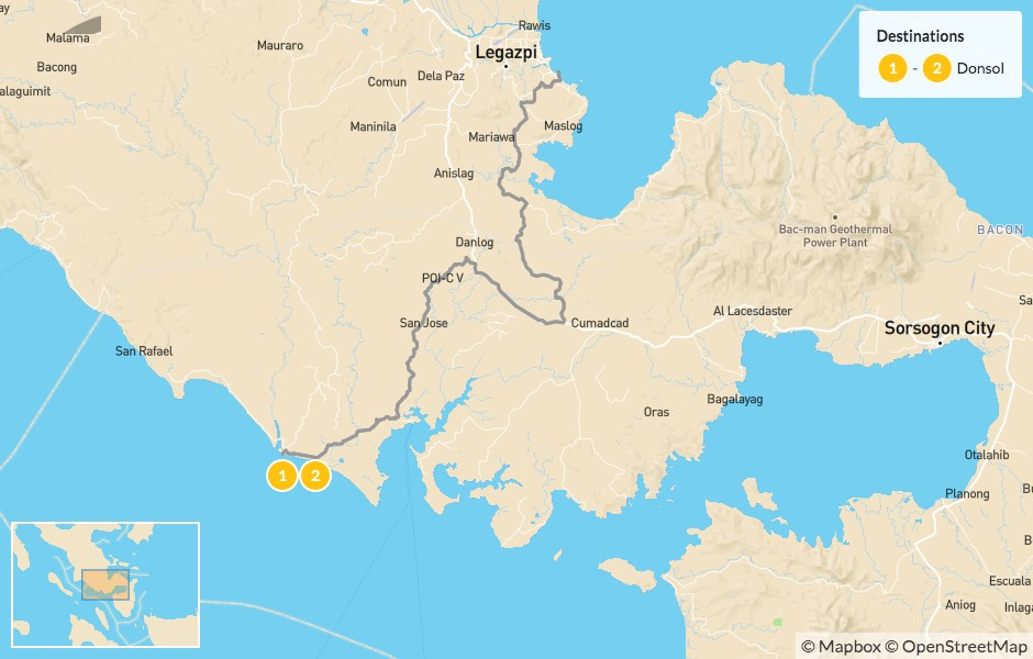 Map of Whale Shark Encounter in the Philippines: Ticao & Donsol - 3 Days