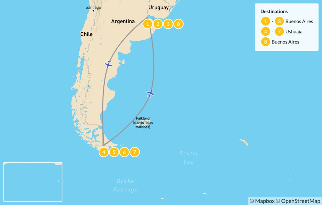 Map of Discover Buenos Aires & Ushuaia - 9 Days