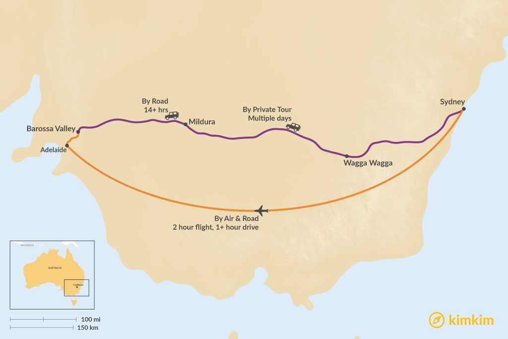 Map of How to Get from Sydney to the Barossa Valley