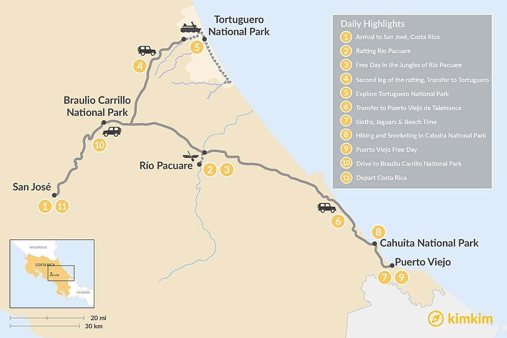 Map of Caribbean Coast Adventure Tour - 11 Days