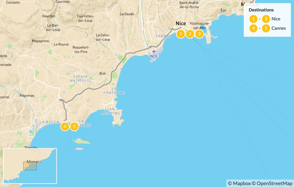 Map of Cities & Nature in the French Riviera: Nice, Cannes, Monaco, St. Tropez, & More - 6 Days