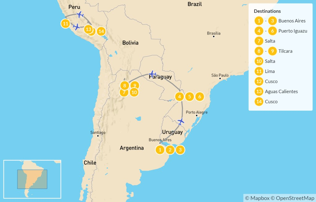 Map of Andean Adventure: Buenos Aires, Iguazú Falls, Machu Picchu, & More - 15 Days