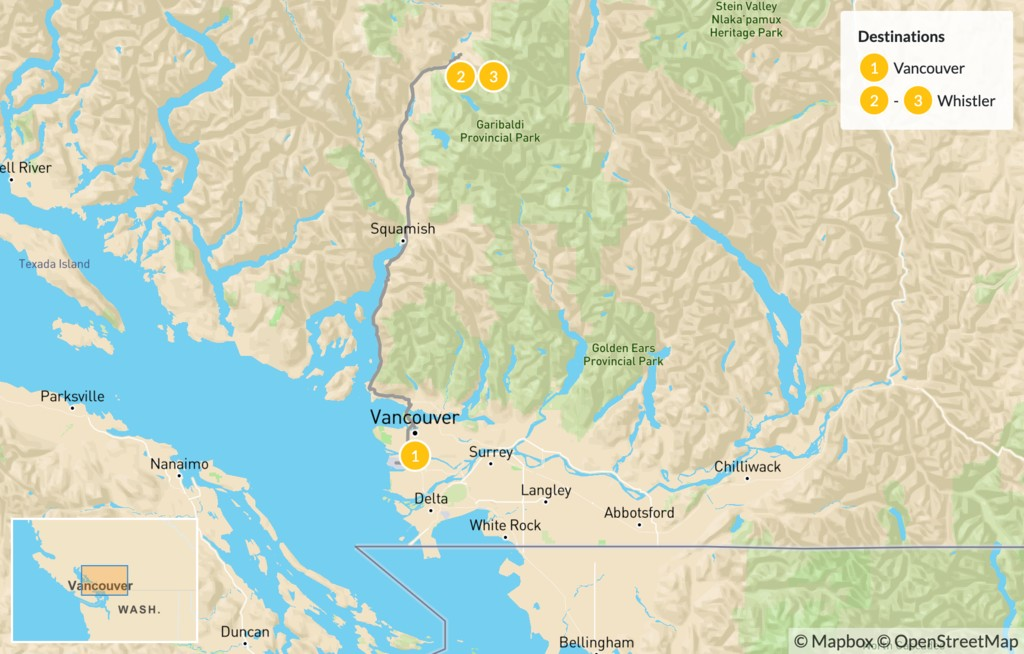 Map of Sea-to-Sky Highway: Vancouver to Whistler - 4 Days